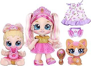 """Kindi Kids Scented Sisters Pawsome Family - پیش دبستانی 10 """"بازی عروسک: Tiara Sparkles ، 6.5"""" Baby Kindi: Teenie Tiara و Kindi Pet: Prince Purrfection"""