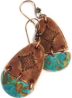 Boho Leather Stamped Scroll & Turquoise Rust Copper Earrings