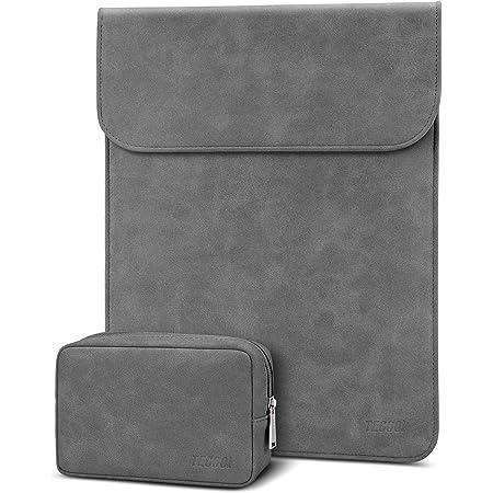 TECOOL 13-13,3 Zoll Laptop Hülle Tasche mit Zubehörtasche Faux Leder Schutzhülle für 2010-2017 MacBook Air 13 A1466/1369, MacBook Pro 13 A1502/1425, Huawei Matebook D 14, 13.5 Surface Laptop, Grau