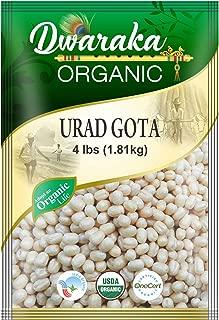 Dwaraka Organic Urad Gota Black Gram Whole Washed Lentil - USDA Organic (4 lbs / 1.81 kg)