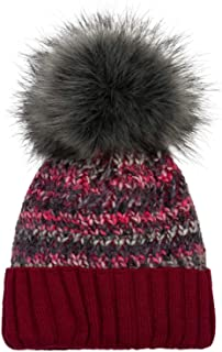 styleBREAKER Colorido Gorro de Punto con pompón de Mujer con Forro Polar térmico, Gorro de Invierno con pompón de Pelo, Pe...