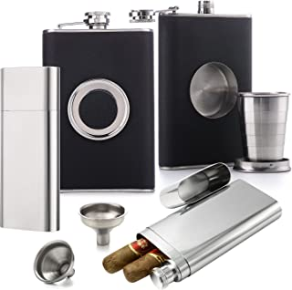 Flask Set [Voted Top 10 Gift for Men - 2018] - Dual Cigar Flask (1) + Shot Glass Flask (1) + Funnel (2) (Cigars Not Included)