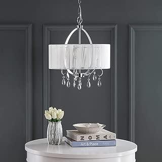 Safavieh LIT4236B Lighting Collection New Vienna Chrome Chandelier, White