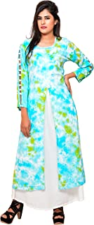 Women's Mint ombre shibori layered Rayon floorlength gown