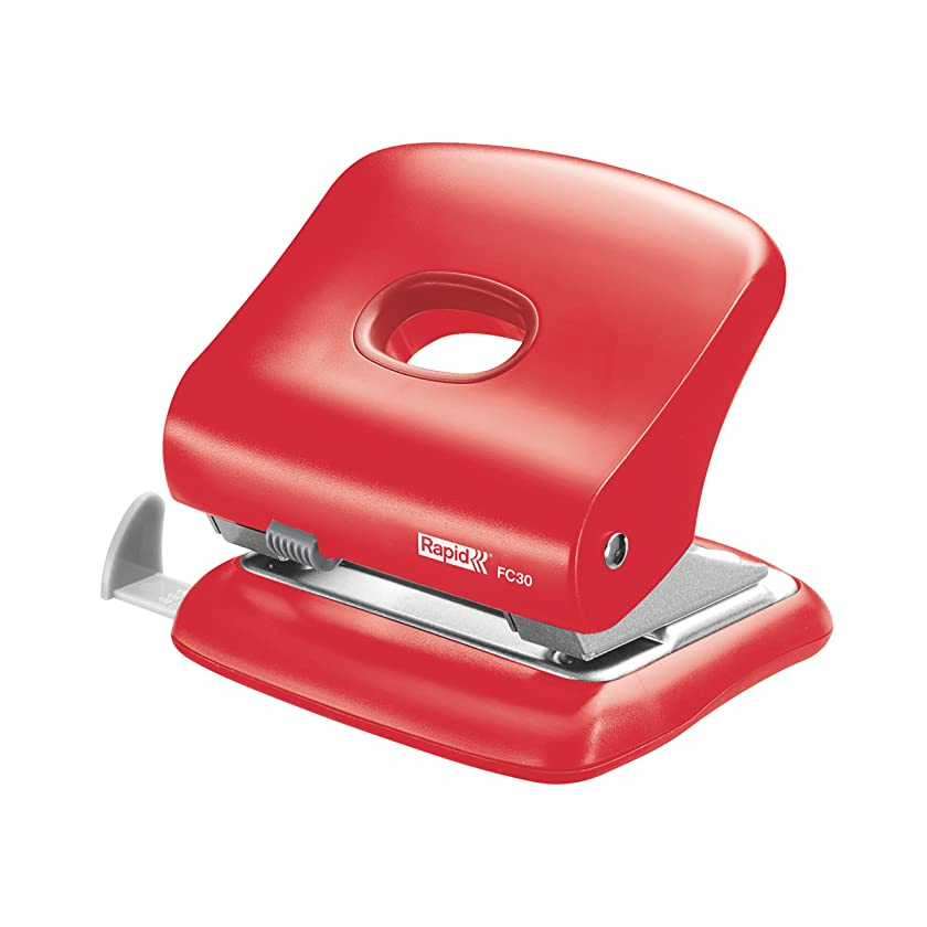 Rapid Hole Punch, 30 Sheets, Light Red, Guide Bar with Format Markings, Metal and Plastic, FC30, 5000360