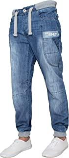 New Mens ENZO Branded High Fashion Designer Ribbed Cuffed Joggers Denim Jeans 28-48
