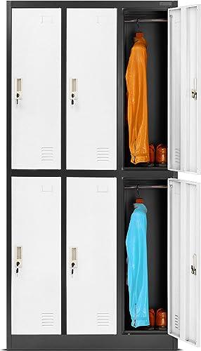 Casier vestiaire 3B2A armoire metallique 6 Compartiments revêtement en poudre 185 cm x 90 cm x 45 cm (anthracite/blanc)