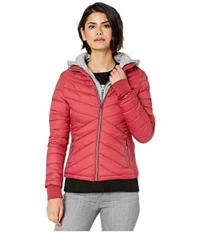 YMI Snobbish Puffer Jacket with Marled Sweatshirt Hood (Red) Women