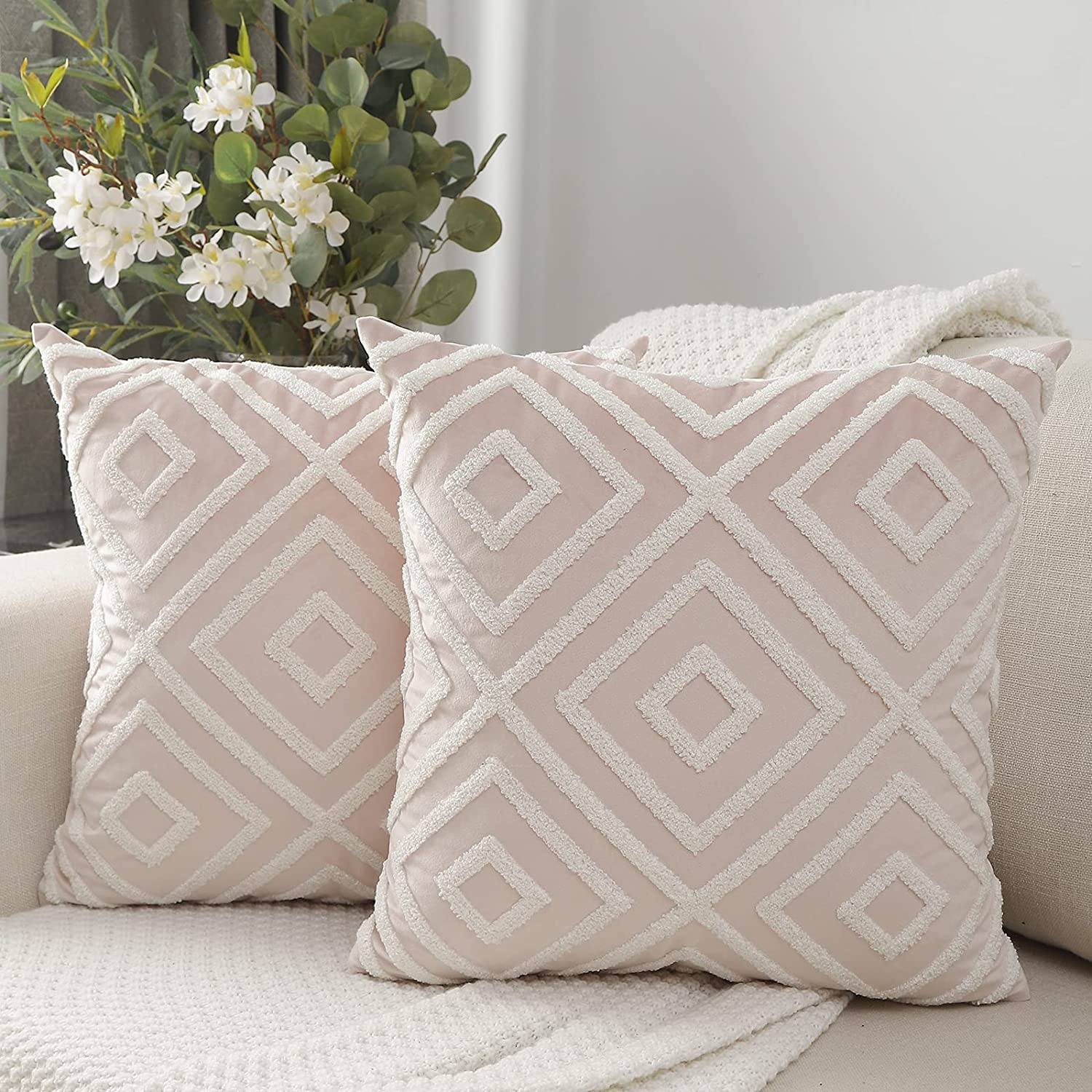Max 59% OFF Vancl Boho Tufted Decorative It is very popular Pink Covers Throw Velv 18x18 Pillow