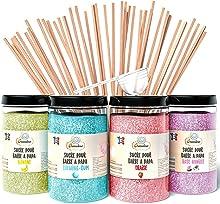 Greendoso- Zucchero Colorato per Zucchero Filato (4 x 350 Gr) = 1,4 Kg (Fragola-Bubble Gum-Banana-Vaniglia) per Macchina Zucchero Filato + 50 Bastoncini da 30 Cm (Offerti) + 1 Cucchiaio Misura