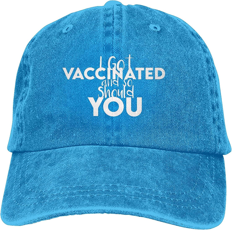 BGWORZD I Got Vaccinated and So Should You Hat Adjustable Washed Unisex Dad Hat Cowboy Cap Denim Cap Baseball Cap