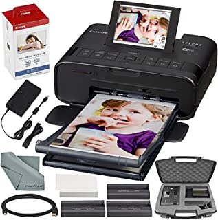 Canon SELPHY CP1300 Compact Photo Printer (Black) with WiFi and Accessory Bundle w/Canon Color Ink and Paper Set + Case + More
