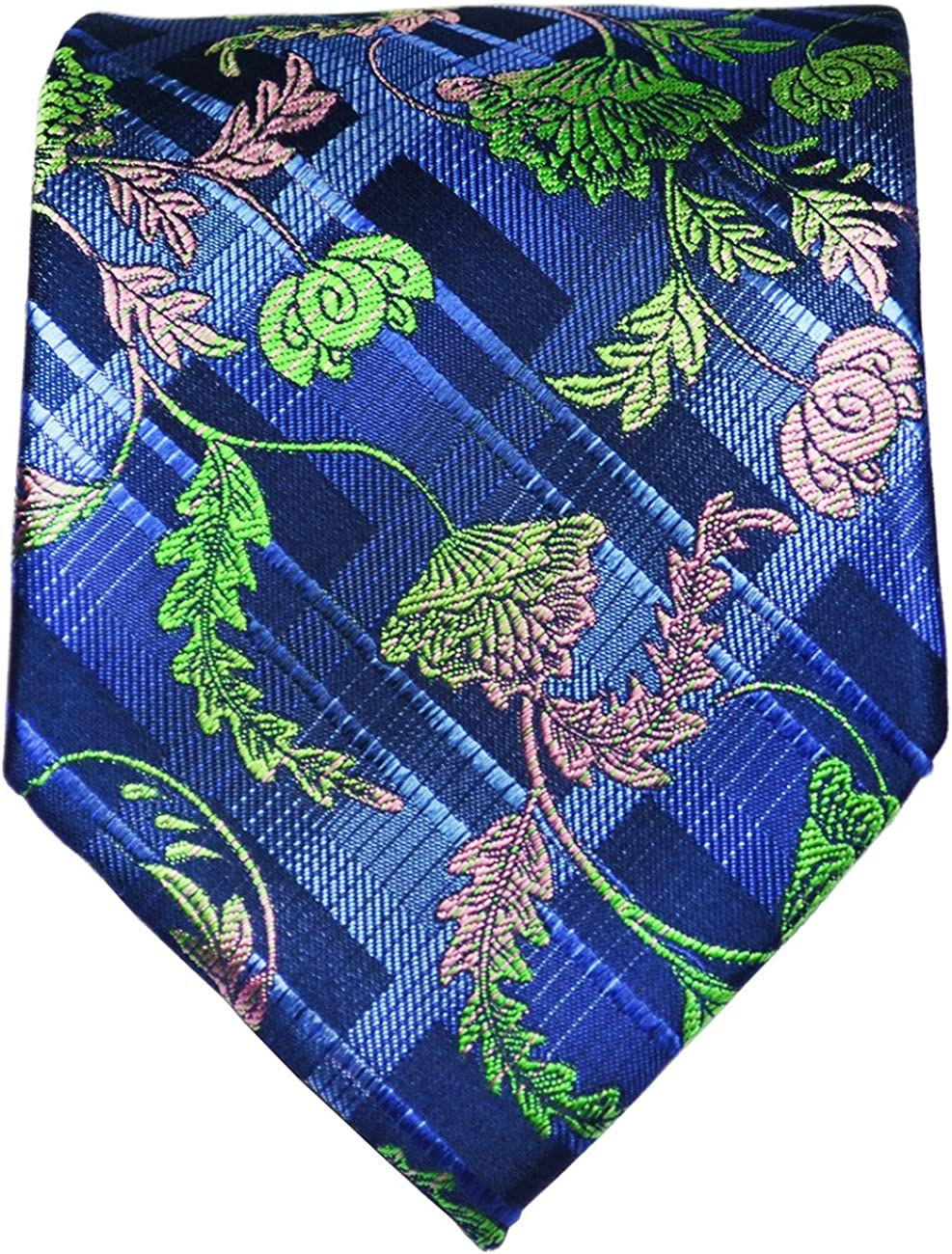 Green and Pink on Navy Blue Paul Malone Silk Tie and Pocket Square