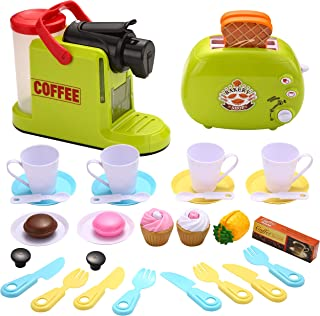 JOYIN 36 Pieces Toy Coffee and Toaster Pretend Play Food Set, Kids Toddlers Toys, Kitchen Accessories Toy Utensils
