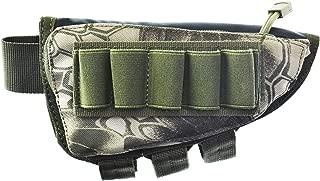 Risunpet Buttstock Ammo Holder Pouch Tactical Shell Holder for Shotgun Rifle Cheek Rest Pouch(Snake Green)