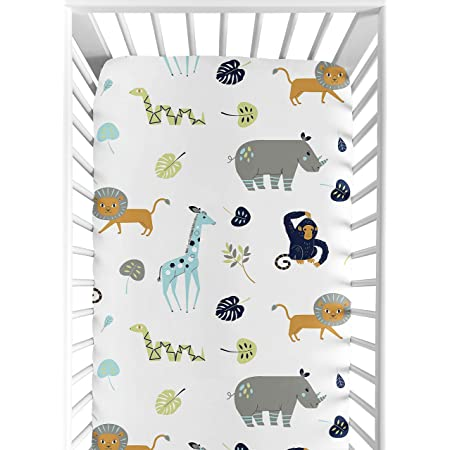 Amazon Com Turquoise And Navy Blue Safari Animal Baby Or Toddler Fitted Crib Sheet For Mod Jungle Collection By Sweet Jojo Designs Baby