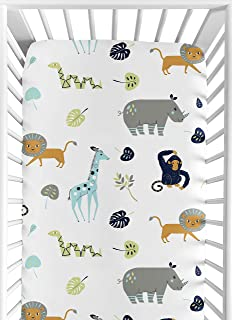 Sweet Jojo Designs Turquoise and Navy Blue Safari Animal Baby or Toddler Fitted Crib Sheet for Mod Jungle Collection by