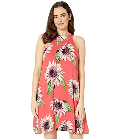 American Rose Elizabeth Floral Halter Dress (Coral) Women