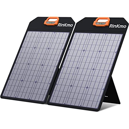 RINKMO 100W Portable Solar Panels Battery Charger with Light Strength Sensor, Support 2-4 Parallel to Increase Power(200w Max), IP65 Waterproof, Portable Generator Power Station for Smartphone