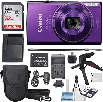 Canon PowerShot ELPH 360 HS 12x Optical Zoom Built-in Wi-Fi Deluxe Accessory Bundle Cleaning Tools