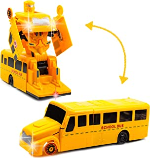 Toysery Deformation School Bus | Super Enhanced Version | Inbuilt with Lights and Music | Automatically Transforms from Bus to Robot | Safe and Durable | Easy to Operate