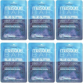 masque BAR Blue Glitter Peel Off Facial Mask (6 Pack) — Korean Beauty Skin Care Treatment — Cleanses, Detoxifies, Moisturi...