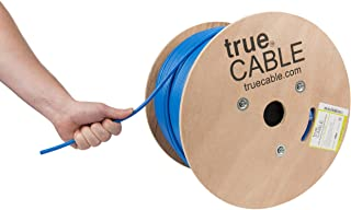 trueCABLE Cat6A Shielded Riser (CMR), 1000ft, Blue, 23AWG Solid Bare Copper, 750MHz, ETL Listed, Overall Foil Shield (FTP), Bulk Ethernet Cable