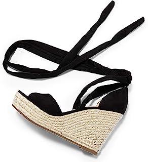 Womens Lace up Platform Wedges Sandals Classic Ankle Strap Shoes Black