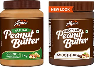 Alpino Natural Peanut Butter Crunch 1 KG (Unsweetened / Gluten Free / Non-GMO / Vegan) + Alpino Peanut Butter Chocolate 40...