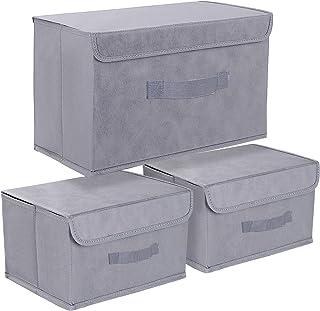 DIMJ Boîte de Rangement Tissu Pliable, Caisse de Rangement avec Couvercles pour Vêtements, Lot de 3, Gris
