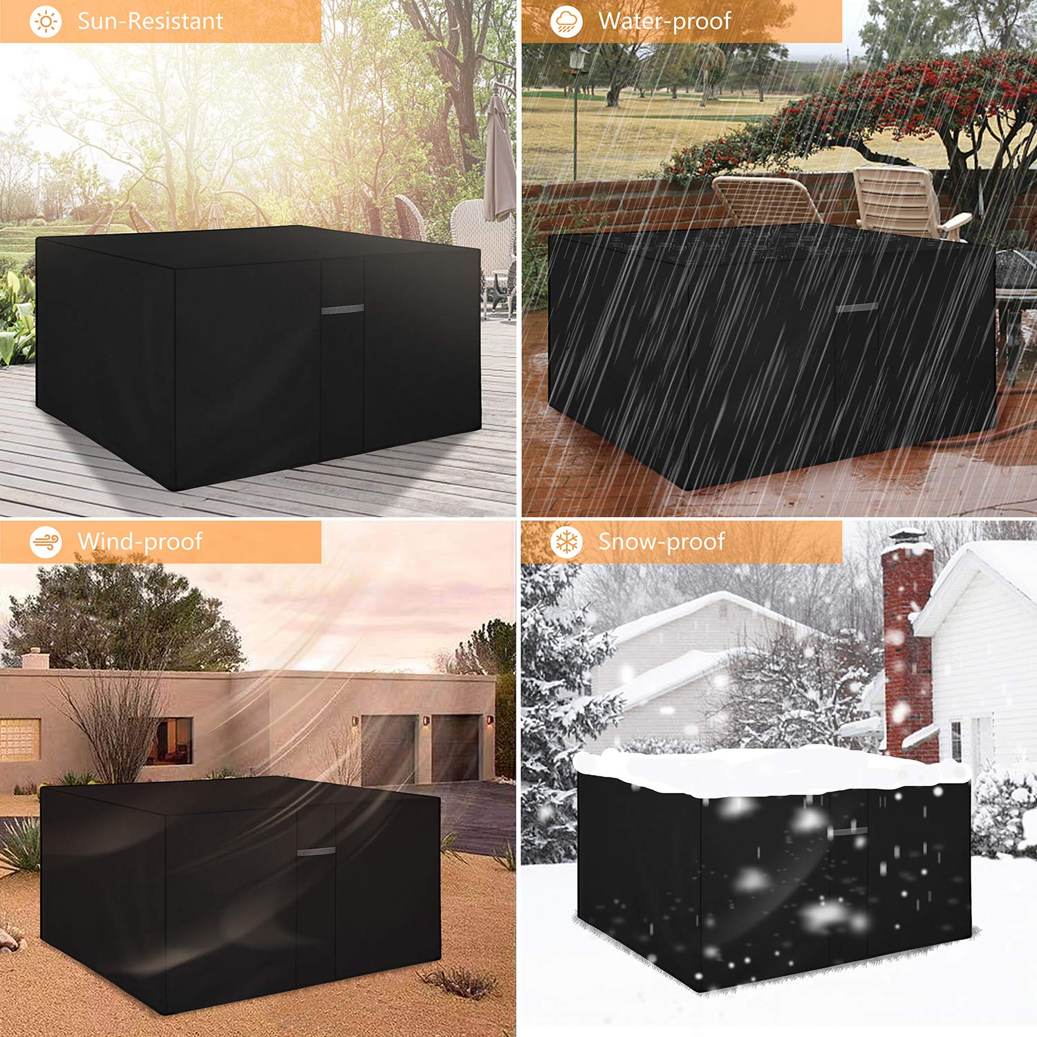 Dokon Cube Garden Furniture Cover with Air Vent, Waterproof, Windproof, Anti-UV, Heavy Duty Rip Proof 600D Oxford Fabric Patio Rattan Cube Set Cover (125 x 125 x 74cm) - Black