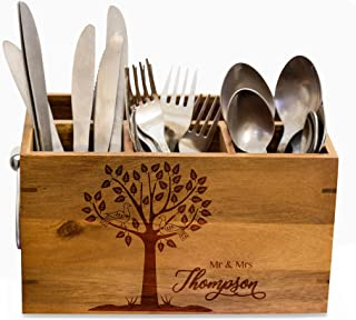 Wedding Silverware Caddy, kitchen Utensil Holder,Personalize Kitchen Stuff, Picnic Caddy,kitchen tool holder, housewarming Gift, custom