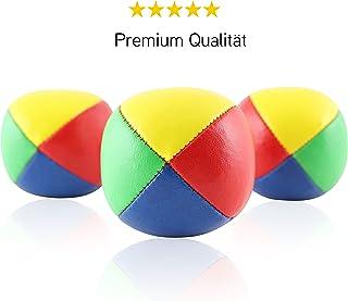 Juego de 3 bolas de malabarismo Diabolo Premium - 62mm Ø ✓ Repelente al agua ✓ Robusta imitación de cuero I Juego de malabarismo para niños y principiantes