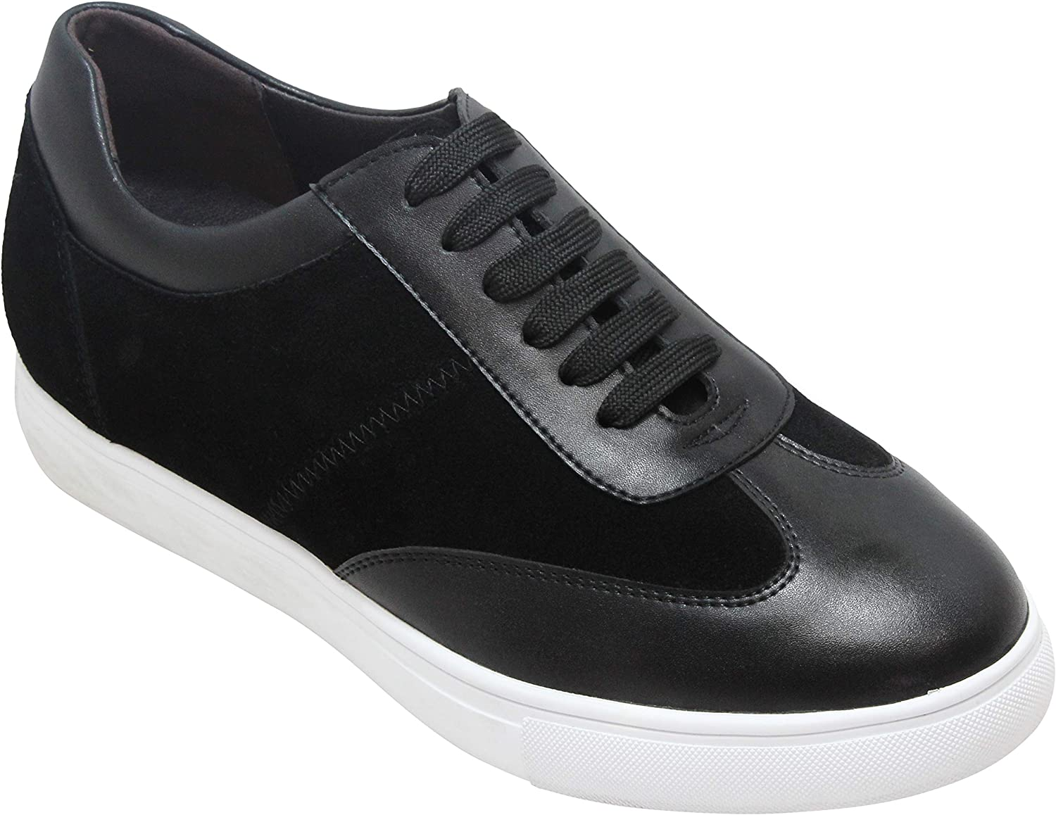 CALTO Men's Invisible Height Increasing Elevator shoes - Black Nubuck Leather Lace-up Lightweight Clasic Casual Sneakers - 2.4 Inches Taller - Y27032
