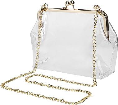 Transparent Sac Bandoulière, Pochette De Soirée Femme, Cabas Sac D'épaule Fourre-Tout avec Chaîne en or Amovible pour le