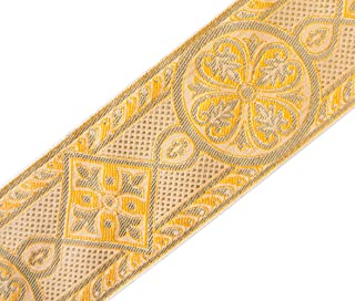 Gold Medieval Jacquard Trim for Chasuble, Church Vestment 2 3/8