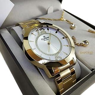 Relógio Feminino Champion Dourado + Kit Brinde Colar e Brincos Ch24259D