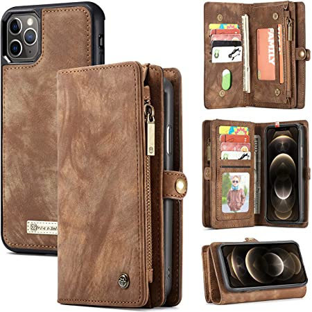 Zttopo Wallet case Compatible with iPhone 12 Pro Max, 2 in 1 Leather Zipper Detachable Magnetic 11 Card Slots Card Slots Money Pocket Cover with Screen Protector Case Wallet 6.7 Inch (Brown)