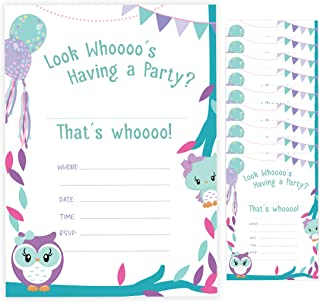 Owl Happy Birthday Invitations Invite Cards (10 Count) With Envelopes Boys Girls Kids Party (10ct)