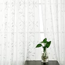 Deconovo Visillo Lino Efecto para Ventana Cortina Transparente de Dormitorio 2 Paneles 140 x 240 cm Blanco Hojas