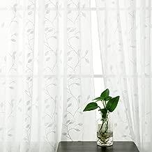 Deconovo Visillo Lino Efecto para Ventana Cortina Transparente de Dormitorio 2 Paneles 140 x 183 cm Beige Hojas