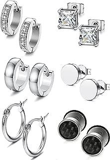 Jstyle 6-12 Pairs Stainless Steel Stud Earrings for Women Mens Huggie Hoop CZ Earrings Set