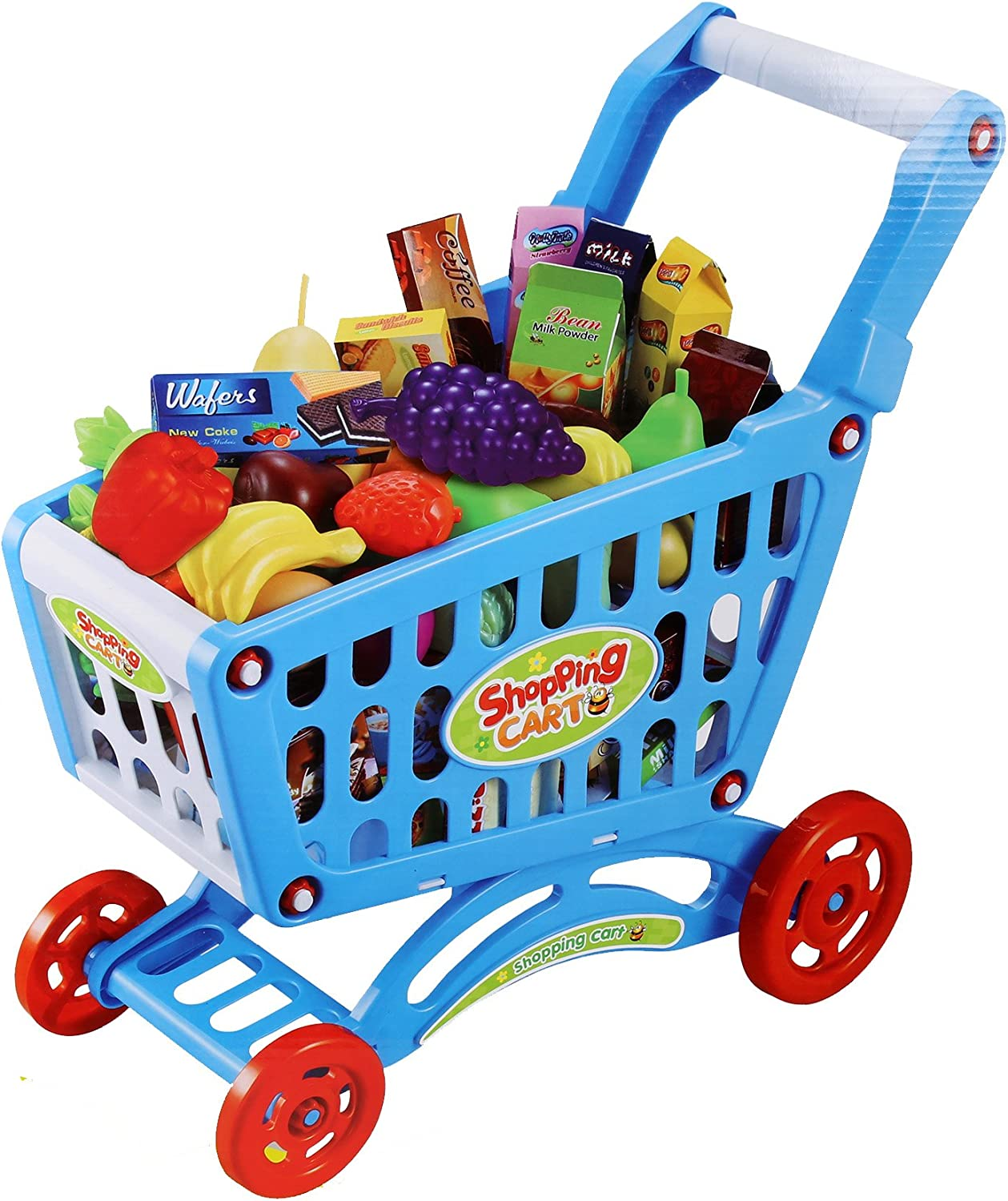 Ibobby, Toy Grocery Shopping Cart Set, 16.5 x 18.5 inches, Multicolor