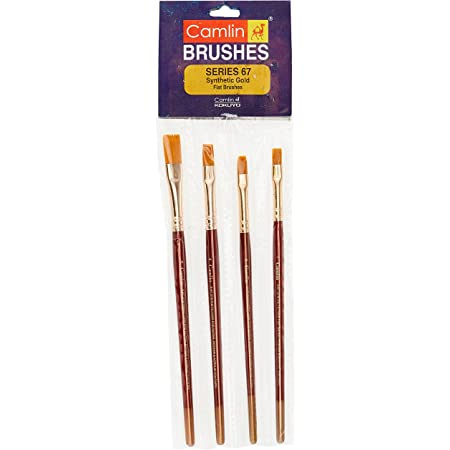 Camel Paint Brush Series 67 - Flat Synthetic Gold, Set of 4