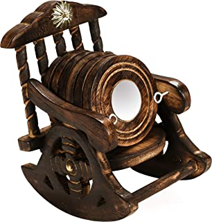 Wooden Rocking Chair Stand Drink Coster, Wooden antique Hand Crafter coasters, Rustic handmade wooden coasters, Suitable for Wine Glasses, Beer Bottles, Whiskey Glasses and Any drinks - set of 6