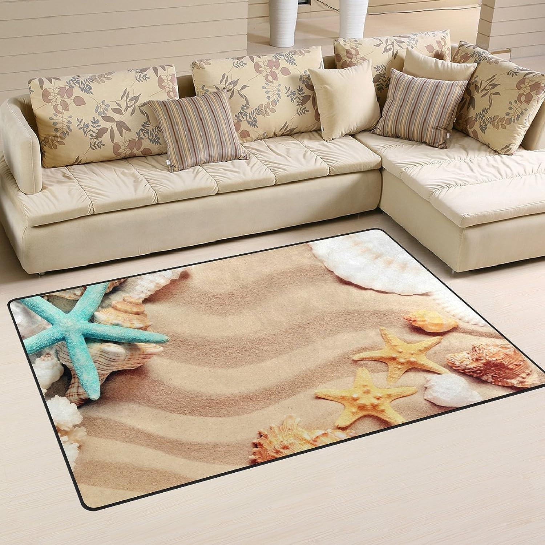 WOZO Summer Beach Starfish Shell Sand Area Rug Rugs Non-Slip Floor Mat Doormats Living Room Bedroom 60 x 39 inches