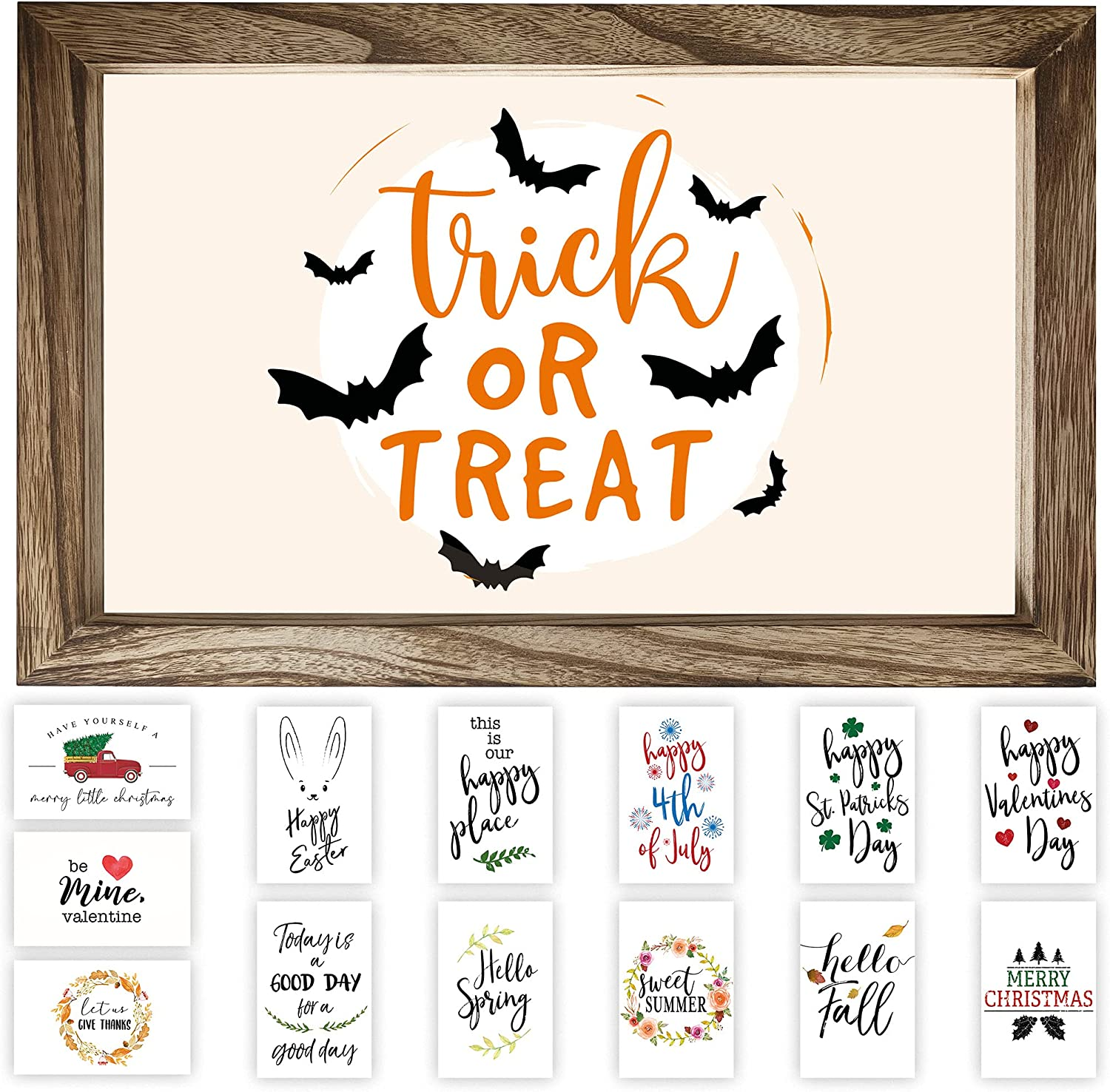 """Farmhouse Wall Decor Signs With 14 Interchangeable Sayings For Indoor Fall And Halloween Decor - 11x16"""" Rustic Wood Picture Frame with 14 Designs - Easy To Hang Thanksgiving Decorations For Your Home"""