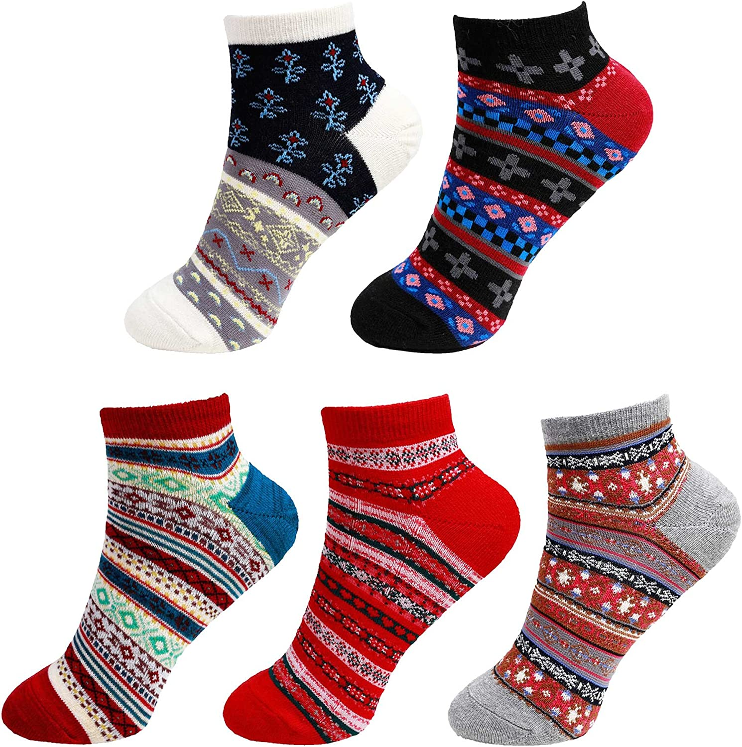 Women's Vintage Style Knitted Colorful Cotton Anklet Socks