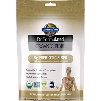 Garden of Life Dr. Formulated Organic Fiber Supplement - Unflavored, 32 Servings, Organic Prebiotic Fiber Supplement, Psyllium Free, Vegan Superfood Fiber Powder, Constipation Relief, Hunger Control
