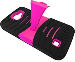 For LG Optimus Zone 3 III VS425 / Spree / K4 / Rebel Dual Hybrid Heavy Duty Hard Soft Cover Phone Case with Kickstand + Happy Face Phone Dust Plug (Horizontal Black-Pink)